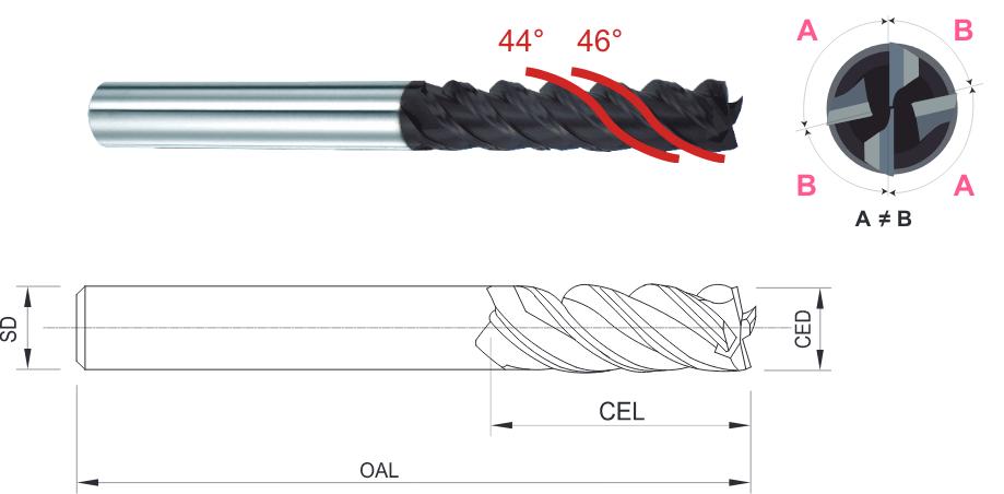 4Dセミロング刃長 超硬 4枚刃 防振エンドミル