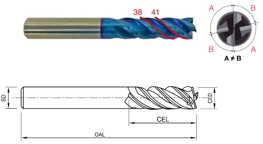 3D刃長 超硬 4枚刃 防振エンドミル